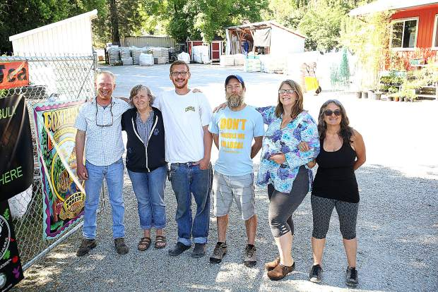 Workers Taylor Harvey, Tina Tesene, Chris Stokes Michael Puetz Sam Hinrichs and owner Darlene Markey stand in the driveway of Sweetland Garden Mercantile open in North San Juan to serve the gardening and landscaping needs of those on the ridge and beyond.