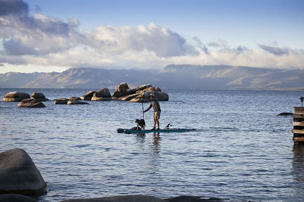 Tahoe SUP founder Nate Brouwer paddles the award winning Tahoma inflatable stand-up paddleboard.