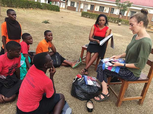 "Nevada County's Mara Havard along with BDP staff interpreter Sara,  provides much needed health information to Ugandan school girls while distributing the  ""Days For girls"" re-usable menstruation kits."