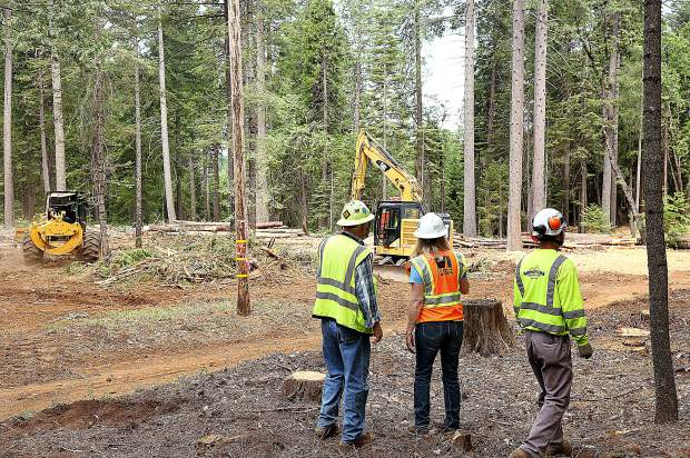 PG&E and Mountain F Enterprises workers oversee the progress of the vegetation abatement along a 1/2 mile portion of power lines near White Cloud Campground as part of PG&E's Community Wildfire Safety Program June 12.