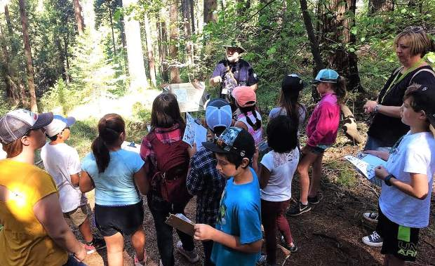 During the field trip, Scotten School students hiked the Cascade Canal and Orene Wetherall Trails to discover the wide variety of plants and animals on the Woodpecker Wildlife Preserve in Nevada City.