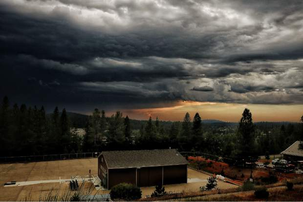 Ominous skies Saturday night as late spring storm brings lighting,thunder and quarter size hail to Grass Valley photos courtesy of Jamie Brown Photography