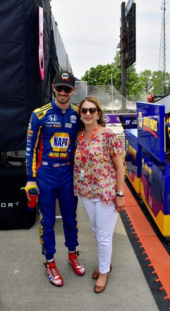 Nevada City resident Laura Bigham with her nephew Alexander Rossi, Detroit Grand Prix.