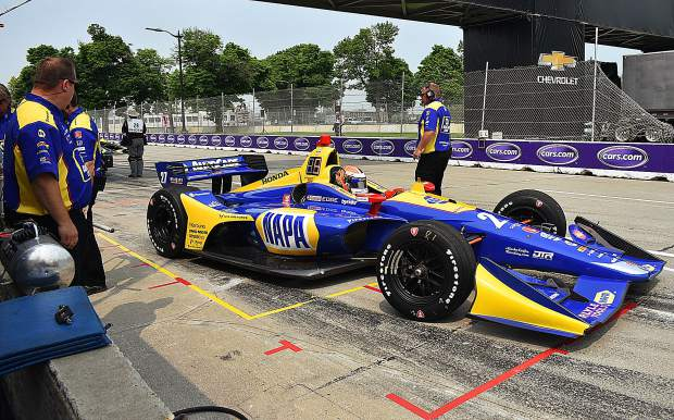Alexander Rossi in the #27 Napa Auto Parts car leaving pit lane, Detroit Grand Prix.