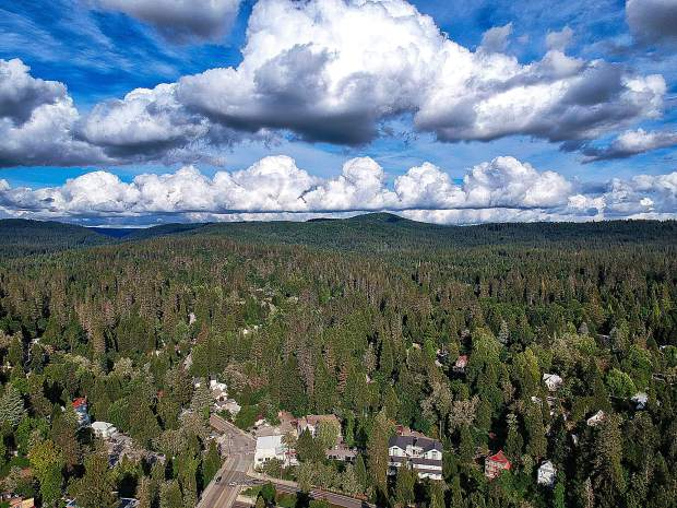 Cloudy skies above Nevada City.