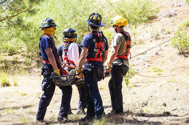 Sunday, June 9 - Firefighter trainees at the Sierra College Fire Academy at the Grass Valley Fire Department.