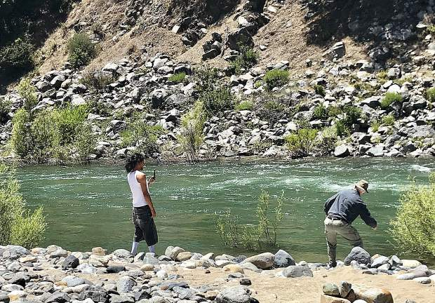 Skipping stones at Bridgeport in the South Yuba River.