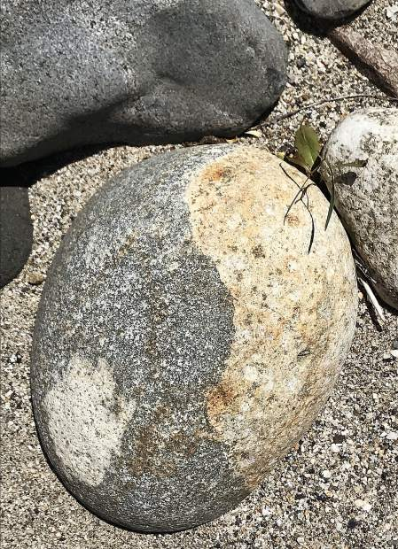 Stone compositions at the beach at Bridgeport on the Yuba River.