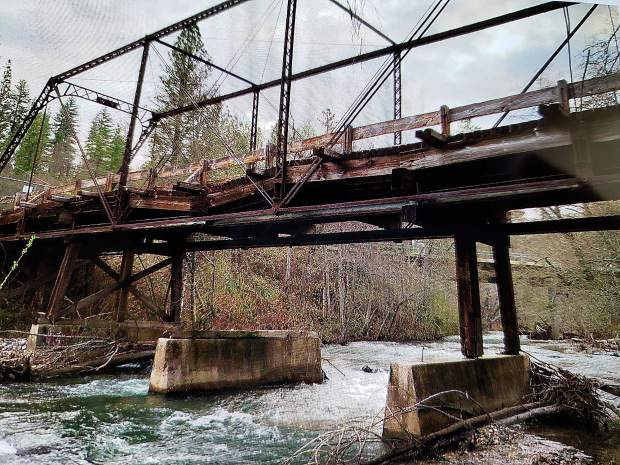The old bridge over Deer Creek at Bitney Springs and Newtown Road.