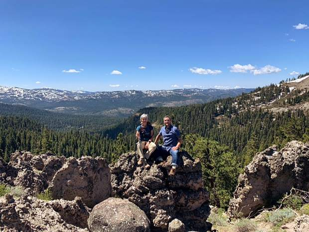 The lovely Sierras right on our doorstep on the first day of summer. Pictured are Mary and Brendan Pascale.