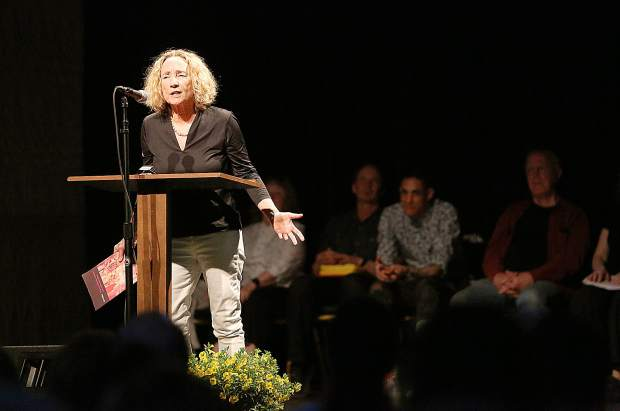 American Poet Jane Miller recites one of her poems Friday evening. She is the recipient of a Wallace Award for Poetry a Guggenheim Fellowship, two National Endowment for the Arts Fellowships and other recognitions.
