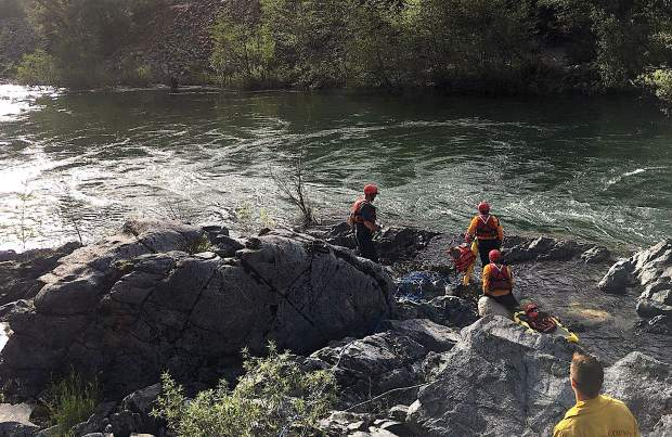 Nevada County Consolidated assisted Washington volunteer firefighters with a swift water rescue Sunday at the Yuba River.