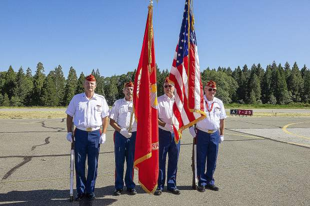 The Grass Valley Marine Corps League Honor Guard, Gold Country Detachment, appeared at the opening ceremonies for the Grass Valley Airshow.