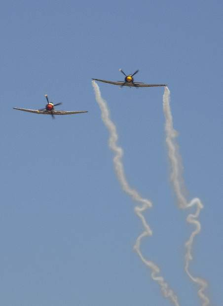 The Smokewinder Sea Fury planes held a demonstration at the Grass Valley Airshow.