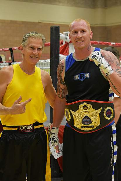 Local boxers Brian Scott, right, and Ken Bigham both competed at the Las Vegas Masters Invitational Tournament on Sunday.