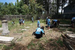 Chabad Summer Camp cleans up historic Jewish Cemetery