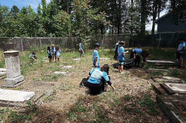 Campers between the ages of 4-12 gathered at the Historical Jewish Cemetery in Grass Valley for a clean-up day.