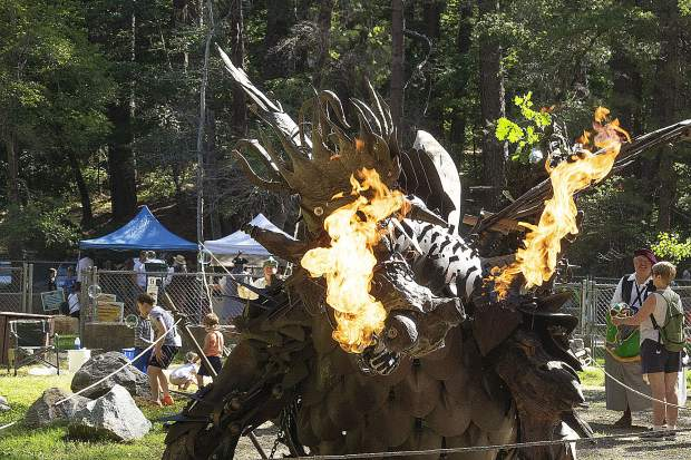 Claude is a large mechanical dragon who made an appearance at Friday's Children's Festival.