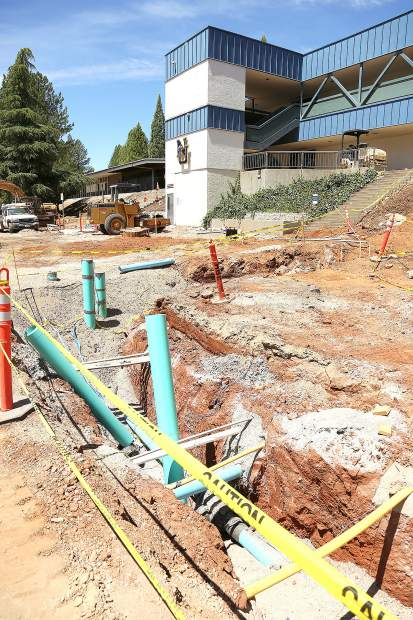 Large trenches currently occupy the Nevada Union High School campus' access road that leads towards the stadium. Utility lines are being upgraded throughout the school utilizing Measure B monies.