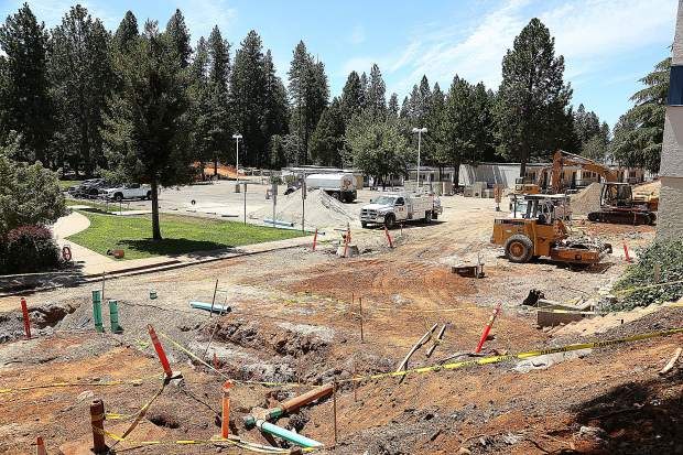 The roads are currently unpaved on portions of the Nevada Union High School campus, though crews are rushing to get most of it paved before school starts mid August.