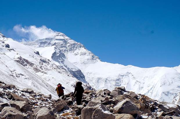 The hike early on during the ascent of Mount Everest from the north in Tibet.