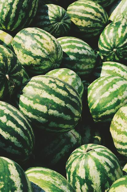 A ripe watermelon will have a patch of yellow skin where it rested on the ground while it was growing. Alsp, look for watermelon skin that has a waxy bloom, dull and not shiny. Watermelons that are large for their variety and symmetrical in shape are usually better tasting.