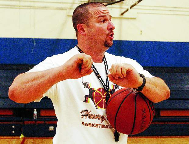 Coach Jeff Dellis explains a drill to students at a basketball camp at Nevada Union High School';s West Gym in 2004. Dellis is stepping away from his positions as a teacher and athletic director at Nevada Union. Dellis has been a teacher at NU since 1996 and athletic director since 2014.