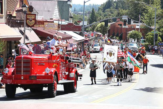 Fourth of July attire Thursday in downtown Grass Valley.
