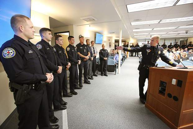 New Grass Valley police officers Kyle Newman, Jonathan Brown, reserve officers Devon Bossi, Colton Duncan and Matt Whiting, information technology analyst Brad Kalstein and community service officer Bryce Corkins were among those recognized during Tuesday evening's council meeting.