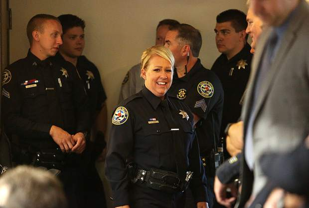 Grass Valley Police Department's Sara Perry was honored as the recipient of the 2018 employee of the year award Tuesday evening.