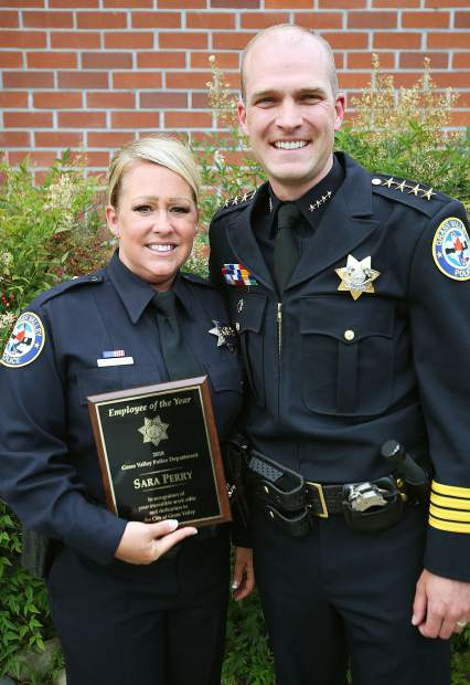 Grass Valley Police Department's Sara Perry was honored as the 2018 employee of the year by Chief Alex Gammelgard during Tuesday evening's council meeting.