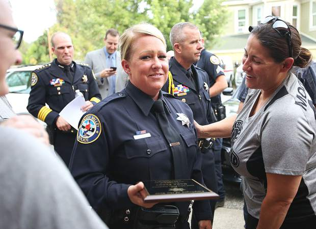 Grass Valley Police Detective Sara Perry was honored as the 2018 employee of the year for the police department.