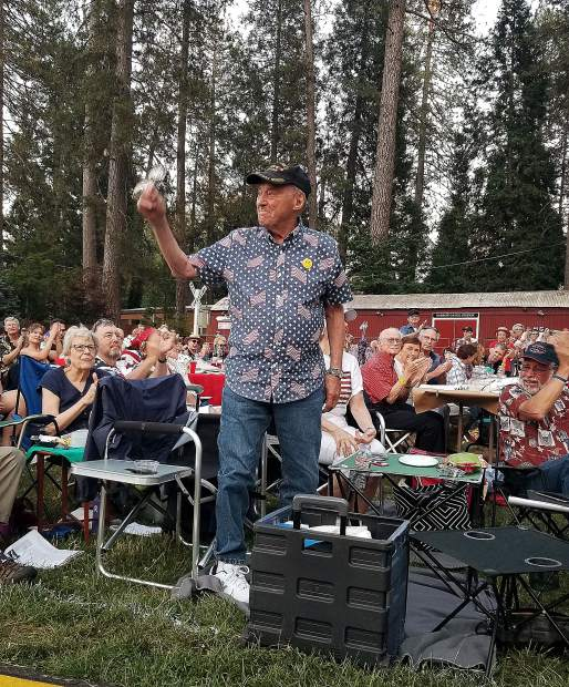 World War II veteran Stan Sabka, 95, was honored at the Music in the Mountains symphony orchestra's Patriotic Pops concert Wednesday at the Nevada County Fairgrounds.