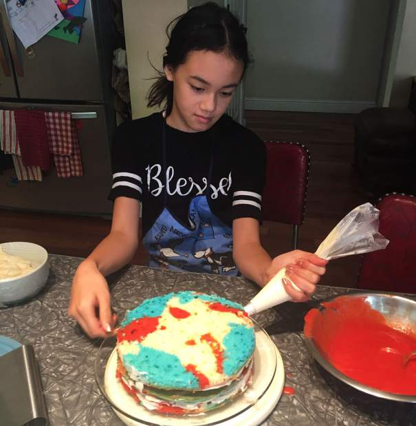 Chloe Wong, a 12-year-old eighth grader at Mt. St. Mary Academy, won the junior baking contest of Tess' Kitchen Store's Fourth of July cake competition.