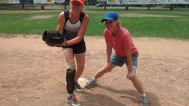 "Breast Cancer survivor Ronnie Warmerdam (left) and Dr. Melisa Agness of Insight Imaging are ready for next Saturday's Eighth Annual ""Saved by Second Base"" Softball Tournament."