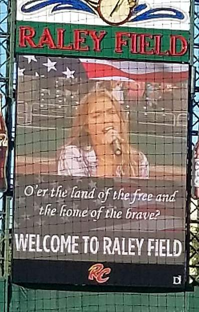 Nevada Union High School sophomore Emmalee Olstad sang the national anthem at the July 11 Sacramento River Cats baseball game.