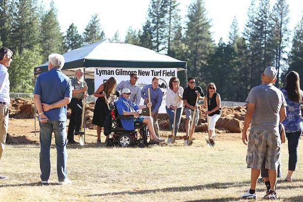 Grass Valley officials and project advocates took time to pose with the golden shovels during Thursday evening's ceremonial ground breaking