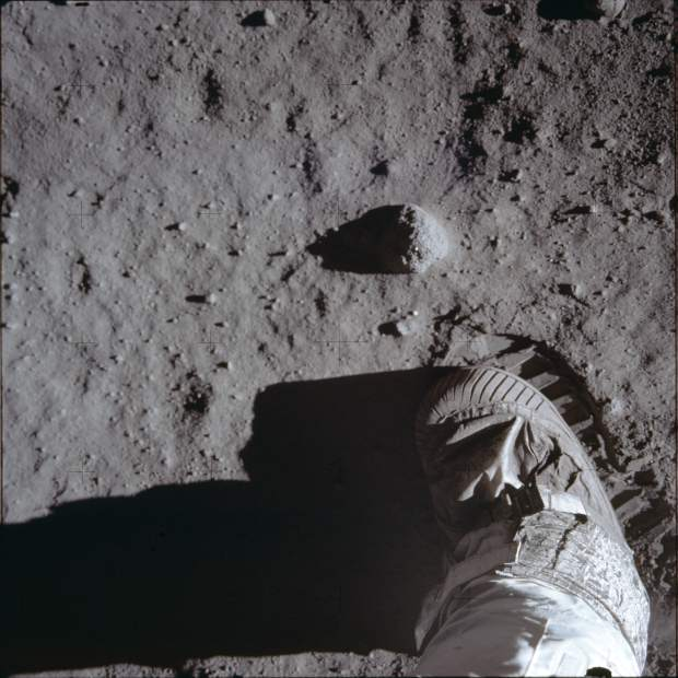 ADVANCE FOR USE SATURDAY, JULY 13, 2019 AND THEREAFTER- This July 20, 1969 photo made available by NASA shows Buzz Aldrins boot and bootprint during a test of the lunar soil during the Apollo 11 extravehicular activity. (Buzz Aldrin/NASA via AP)