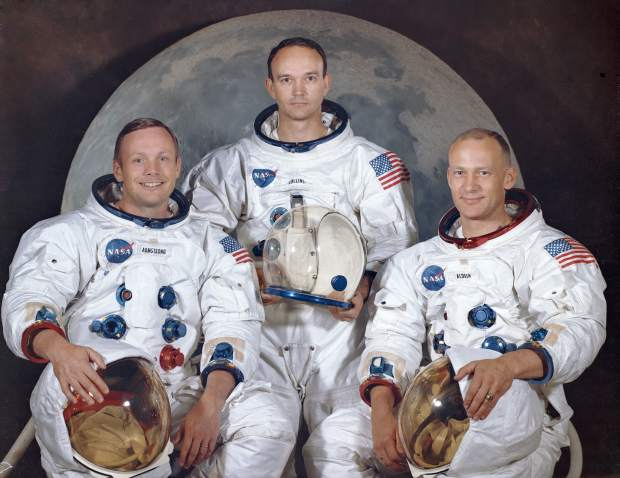 ADVANCE FOR USE SATURDAY, JULY 13, 2019 AND THEREAFTER- This March 30, 1969 photo made available by NASA shows the crew of the Apollo 11, from left, Neil Armstrong, commander; Michael Collins, module pilot; Edwin E.
