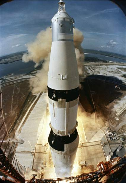 ADVANCE FOR USE SATURDAY, JULY 13, 2019 AND THEREAFTER-In this July 16, 1969 photo made available by NASA, the 363-feet Saturn V rocket carrying the Apollo 11 crew, launches from Pad A, Launch Complex 39, at the Kennedy Space Center in Florida. (NASA via AP)