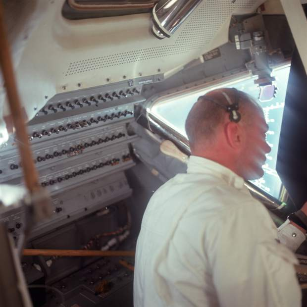 ADVANCE FOR USE SATURDAY, JULY 13, 2019 AND THEREAFTER- This July 20, 1969 photo made available by NASA shows Apollo 11 astronaut Buzz Aldrin in the Lunar Module cabin during the translunar coast. (Neil Armstrong/NASA via AP)