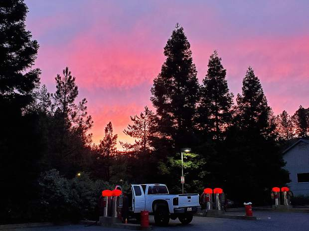 A nice sunset while at Grass Valley's car wash.