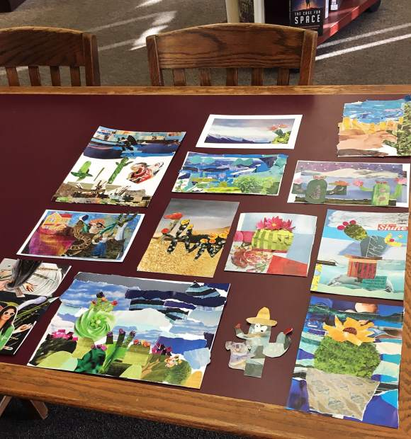 Cactus collage activity at the Grass Valley Library.