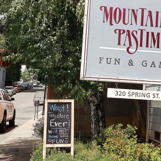 Funny sign outside Mountain Pastimes.