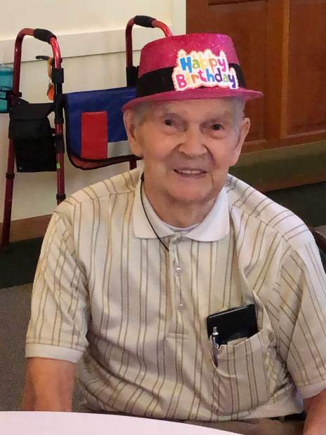 Frank Luporini enjoying his 100th birthday with friends of the Gold Country Italian American Club.