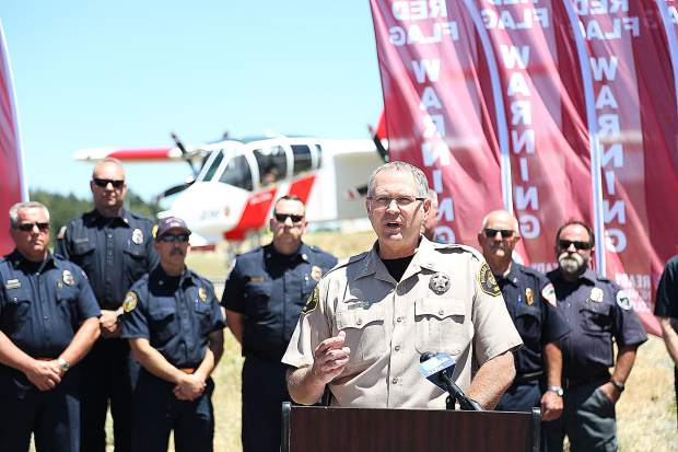 Nevada County Office of Emergency Services Captain Jeff Pettit also addresses those in attendance of Tuesday's red flag warning media event.