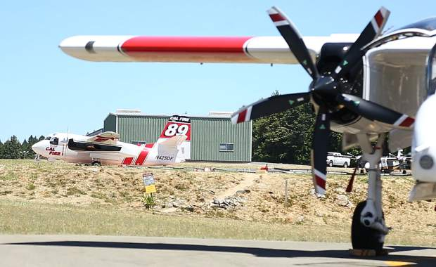 Grass Valley air tankers 88 and 89 were dispatched to a fire in Plumas County during Wednesday's media event for the new red flag warning system.
