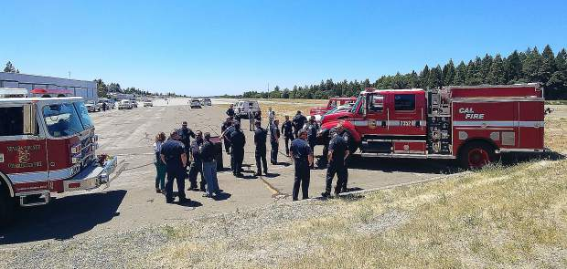 Firefighters from 14 Nevada County fire agencies were on hand to show their support of a visual red flag warning system Wednesday at the Nevada County Airport.