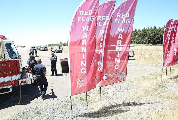 Red flags staked into the ground like the ones shown, will be displayed in front of Nevada County fire stations during the event of a red flag warning.