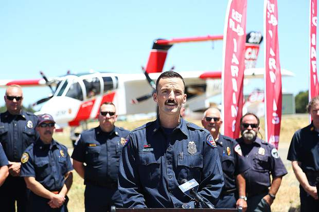 Nevada County Consolidated Fire Captain Nathan Menth talks about the new county-wide, red flag warning flag that will be displayed in front of fire stations during a declared red flag warning.